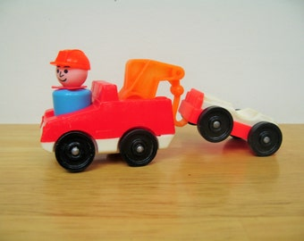 Fisher Price Little People Tow Truck and Car