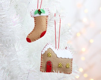 Gingerbread House Ornament, Handmade Christmas Ornament, Holiday Decoration, Cozy cottage, Christmas Decor, Hand-stitched, ready to ship