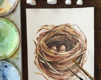 Nest painting - Original watercolour study of a nest with two eggs