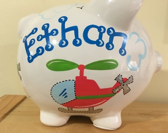 Personalized Ring Bearer  Large Piggy Bank Helicopters Newborns ,Baby Shower Gift Centerpiece