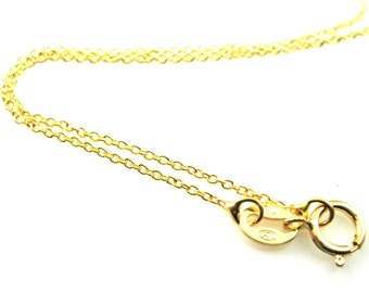 Gold Necklace, Gold plated Sterling Silver Chain-Tiny Plain Cable Chain -Fine Necklace Chain, Chain Necklace -16- 20 inches- Sku: 601009-VM
