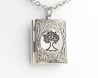Family Tree Book Locket Necklace / Pick Your Length / Steampunk Costume Photo Keepsake Pendant Book Lover Gift Tree of Life Album Silver
