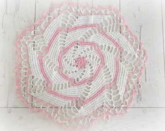 Vintage Crochet Doily Bohemian Decor Antique Hand Crochet Round Doily