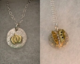 Mother's Day gift, gold pumpkin necklace, butterfly necklace, mixed metal, tiny necklace, harvest gold, mini necklace, gardener gift