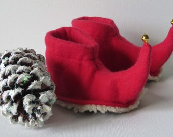 Jingling Elf Slippers: Red Toddler and Child Elf Shoes