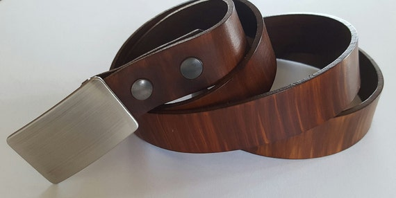"""Men's Belt & Buckle SET ~ Brushed Stainless Suit Buckle with Hand Dyed Leather 1-1/4"""" Belt made in Canada by ironartcanada Men's Accessories"""
