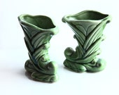 Pair Shawnee Cornucopia Vases ~ Green Glaze Pottery Vases ~ Excellent Condition ~ Vintage Vases ~ USA 835
