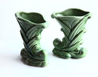 Pair Shawnee Cornucopia Vases ~ Green Glaze Pottery Vases ~ Excellent Condition ~ Vintage Vases ~ USA 835