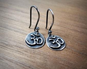 Om Earrings Simple Yoga Jewelry Minimalist Earrings Silver or Bronze Dainty Buddhist Earrings Ohm Charm Zen Earrings Tiny Buddhist Earrings