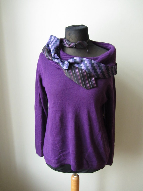 Purple Off Shoulder Sweater Slouchy Oversized Sweater Cold