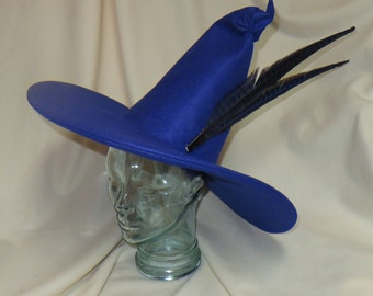 Blue Witch Hat- Felt Hat with Wired Brim and Pheasant Feathers