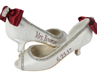 Ivory and Scarlet Red Bow Wedding Shoes, High Heels, 2 inch, 3.5 or 4.5 height, Bride's Custom Name