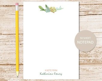 personalized notepad, note pad . succulents notepad . cactus, cacti . personalized stationery . stationary gift