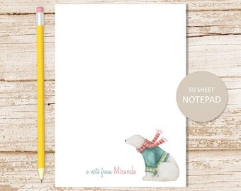 personalized notepad . polar bear notepad . watercolor note pad . winter, arctic animal . personalized stationery stationary