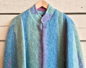 Vintage 1960s pastel blue/green mohair cape poncho coat • 60s cape