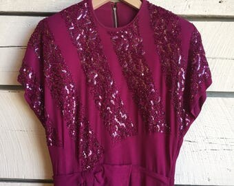 Vintage 1940s sequin rayon dress • vintage cocktail dress • 40s beaded dress