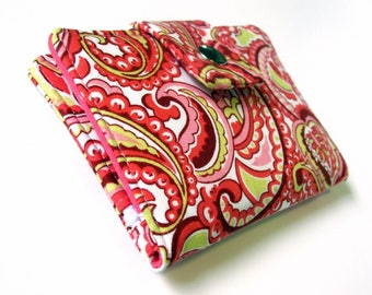Small and slim wallet - Paisleys in coral and white - ID clear pocket - handmade women bi fold wallet - ready to ship - gift ideas for her