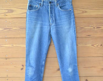 1980s levis 501 blue jeans / distressed vintage jeans / large