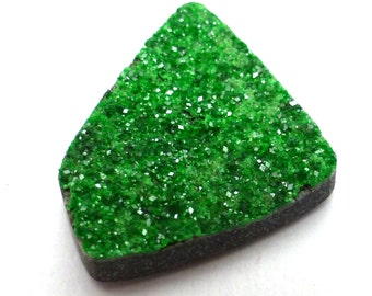 Uvarovite Druzy Cabochon Rare One of a Kind Unique Unusual Russia Green Drusy Handmade Hand Cut Garnet Jewelry Small Free Form Grass Style