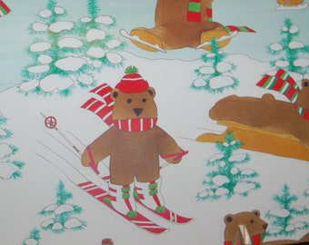 New Old Stock Winter Wonderland Bears Playground Gift Wrap ~ NOS Anthropomorphic Skiing, Sledding Bears, Ice Stating Bears Wrapping Paper