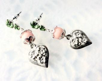 Heart Earrings - Silver and Peridot Heart Earrings - Feminine Heart Earrings