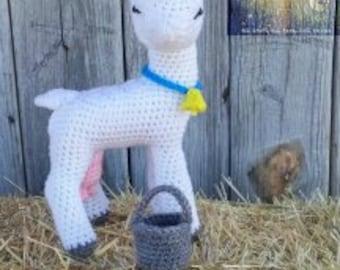 Goat Stuffy,Crocheted Goat,Goat Toy,Dairy Goat,Dairy Goat Stuffy,Saanen Goat,Saanen Goat Stuffy,Goat Amigurumi,Plush Animal,Farm Animal