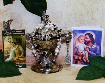 Unbreakable Catholic Relic Chaplet of St. Joseph - Patron Saint of Families, Fathers, Craftsmen, Laborers and Unborn Children
