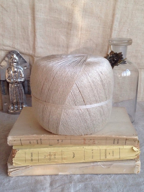 Vintage hemp spool rustic crafts supplies primitive home for Rustic home decor suppliers