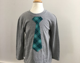 Toddler Long Sleeve Shirt-Tie Teal plaid in Gray, Little Man, Ready to Ship