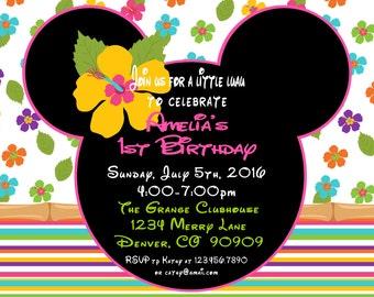 Minnie luau Invitation