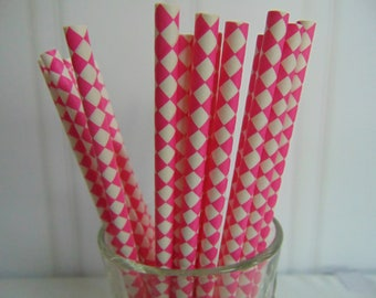 Paper Straws, Party Straws, Hot Pink check Straws, Pink and white Check Straws, Fun Straws for parties