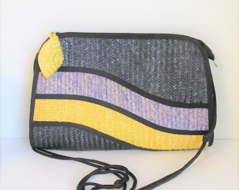 Vintage 1980's Yellow and Black Straw Handbag / Modern Style Crossbody Bag Purse / Waves Tandem Bags of California
