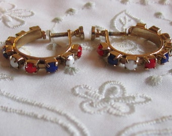 Vintage Gold Tone Hoop Style Screw Back Earrings with Red, White and Blue Glass Beads