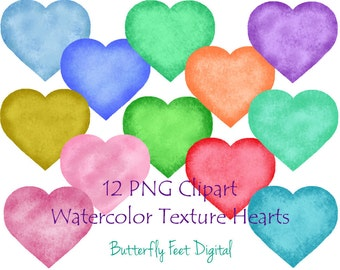 Watercolor Hearts PNG Clip Art, 300 dpi, 12 Heart Images with Transparent Backgrounds, Instant Digital Download
