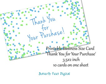 Printable Shop Thank You Card, Confetti Sprinkles, Thank You for Your Purchase, Instant Download