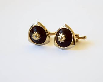 Vintage Gold Filled Cuff Links With Red Stones c.1960s
