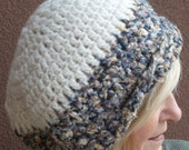 Women's crochet hat in gray and white, original slouchy winter hat, super soft and cozy hat, unique handcrafted slouchy hat with great style