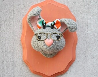 Faux Taxidermy Jackalope Nerd, Gray Bunny with Bow