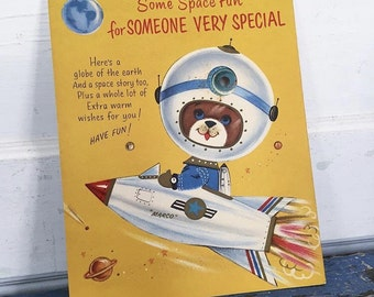 Vintage Space Card, Dog Puppy Astronaut, Rocket Ship, Rust Craft Card, Someone Special Card