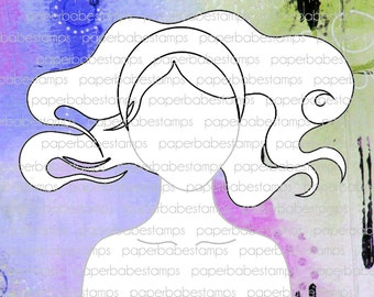 Mixed Media Templates ~ Mermaid Portrait - Paperbabe Stamps - For mixed media, paper crafting and scrapbooking.