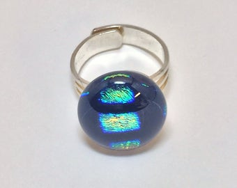 Fused Glass Dichroic Squares Ring II