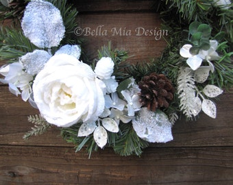 Frosted White Flower Wreath with Pinecones, 16 inch