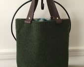 Field Green Felted Wool Tote Bag