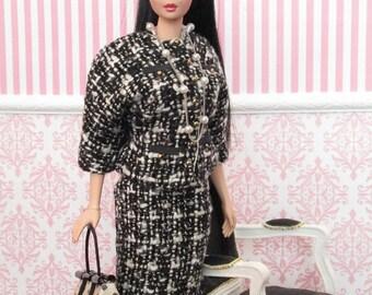 CHANEL style SUIT for vintage Barbie and Silkstone Barbie - handmade - OOAK