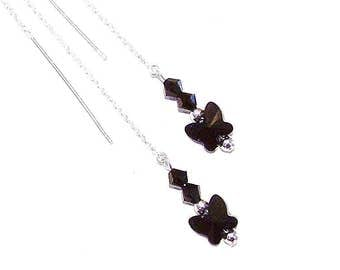 Sterling Silver & Swarovski Butterfly Long Drop Chain Ear Threads - Black 174mm
