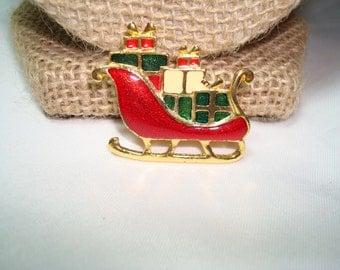 Vintage Christmas Sleigh with Presents Pin.