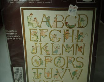 1970s Made in Holland LANARTE ABC Cross stitch Kit Vintage New.