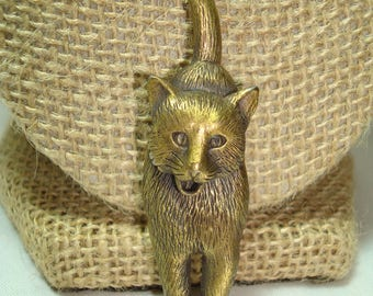 Vintage J J Brand Antiqued Brass Meowing Kitty Cat Pin with Long Tail.