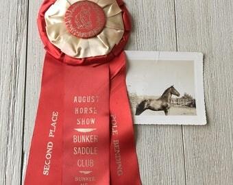 Horse Show Second Place Prize Ribbon Vintage Award Pole Bending