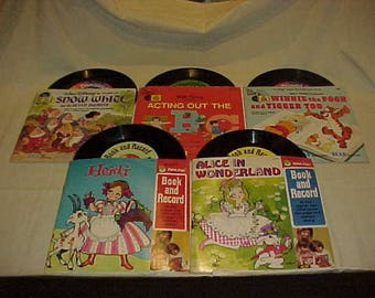 5 Disney and Peter Pan Records Book and Record Sets